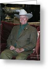 Larry Hagman Greeting Card by Nina Prommer