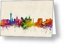 Las Vegas Nevada Skyline Greeting Card by Michael Tompsett