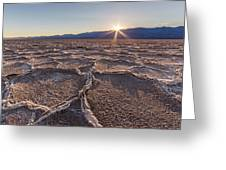 Last Sun Burst At Badwater Death Valley Greeting Card by Pierre Leclerc Photography