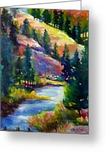 Last View Of The Truckee  Original Sold Greeting Card by Therese Fowler-Bailey