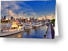 Late Afternoon At Constitution Marina - Charlestown Greeting Card by Joann Vitali