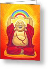 Laughing Rainbow Buddha Greeting Card by Sue Halstenberg