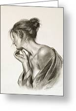 Laura In Deep Thought Greeting Card by John Silver