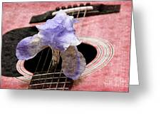 Lavender Iris And Acoustic Guitar - Texture - Music - Musical Instrument - Painterly - Pink Greeting Card by Andee Design