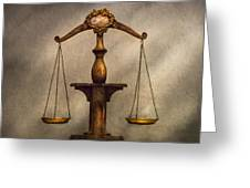 Lawyer - Scale - Fair And Just Greeting Card by Mike Savad