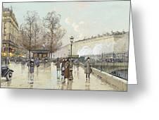 Le Boulevard Pereire Paris Greeting Card by Eugene Galien-Laloue