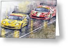 Le Mans 2011 Gte Pro Chevrolette Corvette C6r Vs Ferrari 458 Italia Greeting Card by Yuriy  Shevchuk