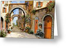 Le Porte Rosse Sulla Strada Greeting Card by Guido Borelli