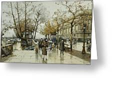 Le Quai De Louvre Paris Greeting Card by Eugene Galien-Laloue