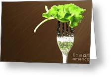 Leaf Of Lettuce On A Fork Greeting Card by Sandra Cunningham