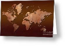 Leather World Map Greeting Card by Zaira Dzhaubaeva