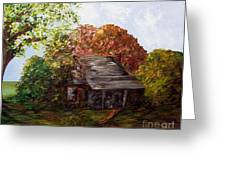 Leaves on the Cabin Roof Greeting Card by Eloise Schneider