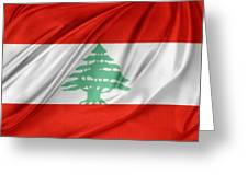 Lebanese Flag Greeting Card by Les Cunliffe