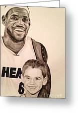 Lebron And Carter Greeting Card by Tamir Barkan