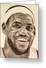 Lebron James Greeting Card by Tamir Barkan