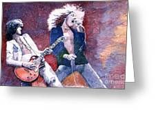 Led Zeppelin Jimmi Page And Robert Plant Greeting Card by Yuriy  Shevchuk