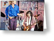 Led Zeppelin Page And Plant Live Aid 1985 Greeting Card by Chuck Spang