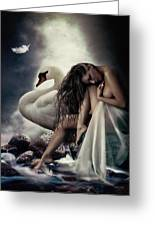 Leda And The Swan Greeting Card by Shanina Conway