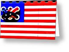 LEGO AMERICAN FLAG Greeting Card by ADSPICE STUDIOS