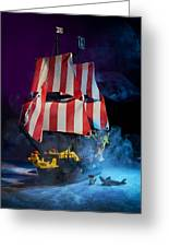 Lego Pirate Ship Greeting Card by Samuel Whitton