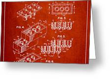 Lego Toy Building Brick Patent - Red Greeting Card by Aged Pixel