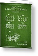 Lego Toy Building Element Patent - Green Greeting Card by Aged Pixel