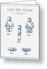 Lego Toy Figure Patent - Blue Ink Greeting Card by Aged Pixel
