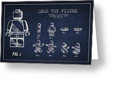 Lego Toy Figure Patent Drawing Greeting Card by Aged Pixel