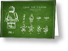 Lego Toy Figure Patent Drawing From 1979 - Green Greeting Card by Aged Pixel