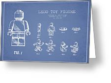 Lego Toy Figure Patent Drawing From 1979 - Light Blue Greeting Card by Aged Pixel