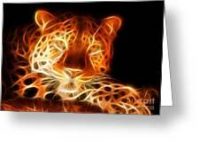 Leopard Intimidating Look Greeting Card by Pamela Johnson