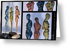 Les Filles De L'asse 1 Triptic Collage Greeting Card by Flow Fitzgerald