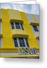 Leslie Hotel South Beach Miami Art Deco Detail 2 Greeting Card by Ian Monk