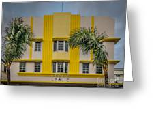Leslie Hotel South Beach Miami Art Deco Detail 3 - Hdr Style Greeting Card by Ian Monk
