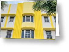 Leslie Hotel South Beach Miami Art Deco Detail - Square Greeting Card by Ian Monk