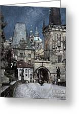 Lesser Town Bridge Towers Greeting Card by Pedro L Gili