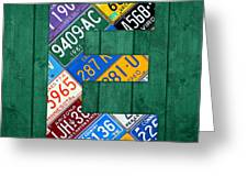 Letter E Alphabet Vintage License Plate Art Greeting Card by Design Turnpike