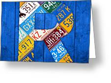 Letter R Alphabet Vintage License Plate Art Greeting Card by Design Turnpike