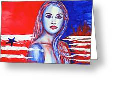 Liberty American Girl Greeting Card by Anna Ruzsan