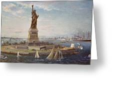 Liberty Island New York Harbor Greeting Card by Fred Pansing