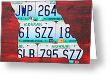 License Plate Map Of Missouri - Show Me State - By Design Turnpike Greeting Card by Design Turnpike