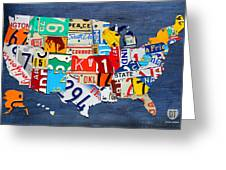License Plate Map Of The United States - Small On Blue Greeting Card by Design Turnpike