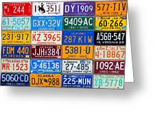 License Plates Of The Usa - Our Colorful American History Greeting Card by Design Turnpike