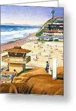 Lifeguard Station At Moonlight Beach Greeting Card by Mary Helmreich