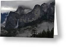 Lifting Fog And Clouds At Bridalveil Fall Greeting Card by Steven Barrows