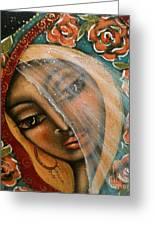 Lifting The Veil Greeting Card by Maya Telford