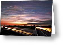 Light Speed Sunset Greeting Card by Matt Molloy