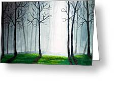 Light Through The Forest Greeting Card by Nirdesha Munasinghe