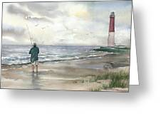 Lighthouse And Fisherman Greeting Card by Beth Kantor