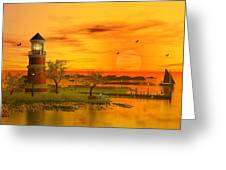 Lighthouse at Sunset Greeting Card by John Junek